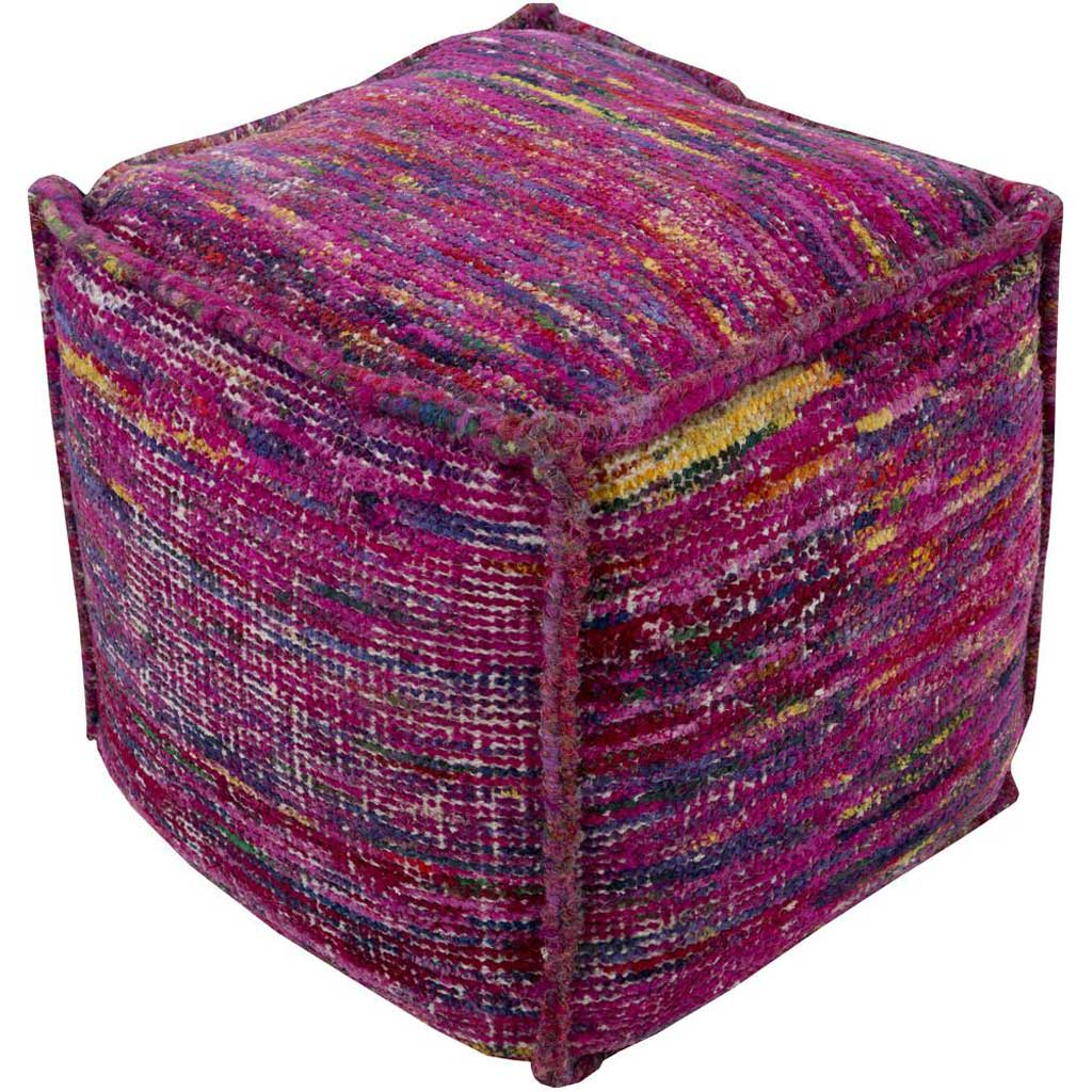 Bazaar Striped Purple Cube Pouf