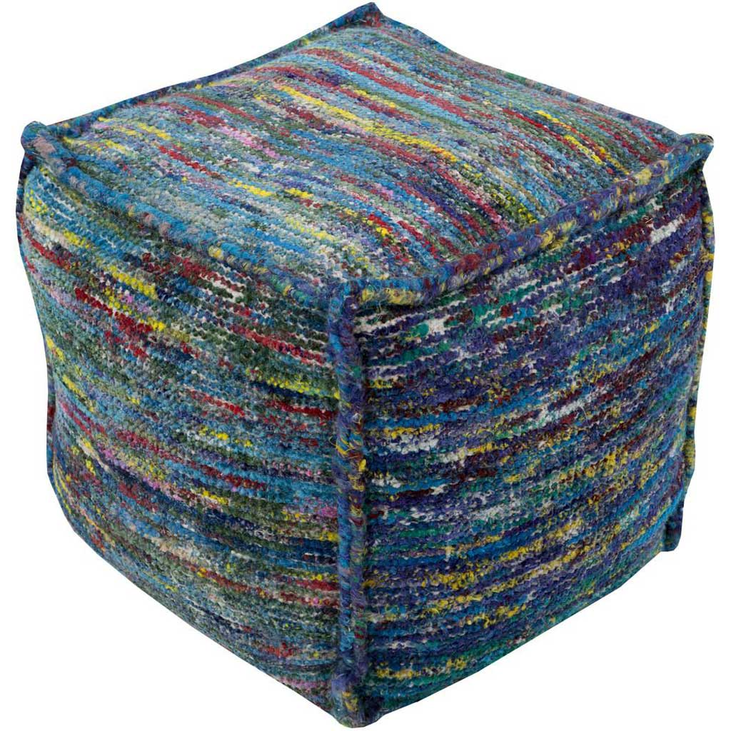 Bazaar Striped Blue Cube Pouf