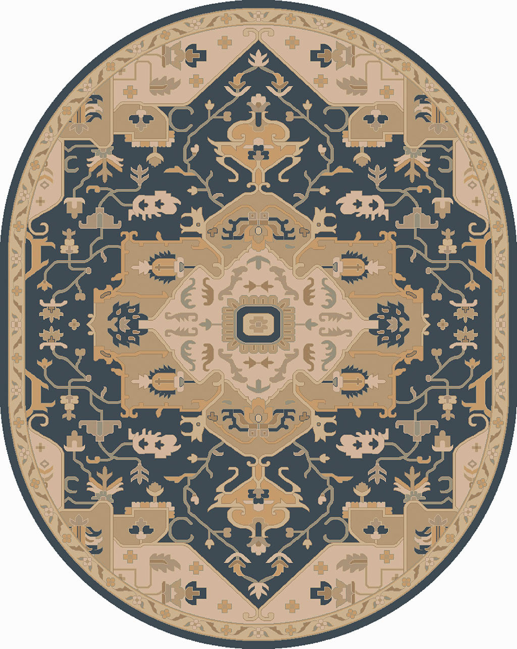 Caesar Navy/Light Gray Round Rug