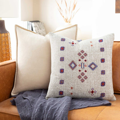 Caden Pillow Taupe/White/Violet