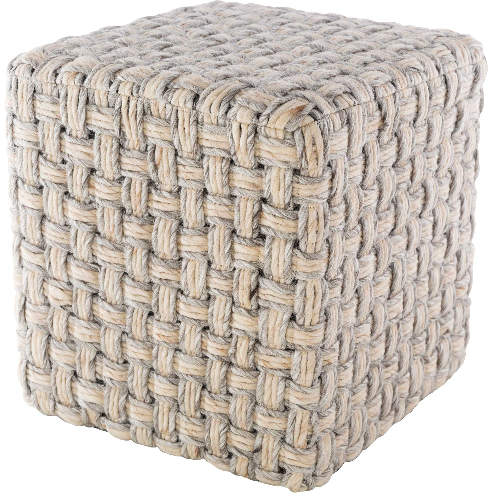 Colton Pouf Light Gray/Cream