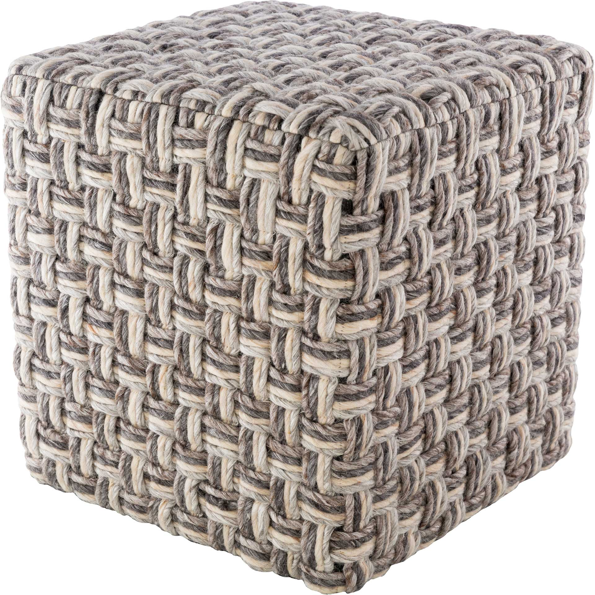 Colton Pouf Charcoal/Camel/Light Gray