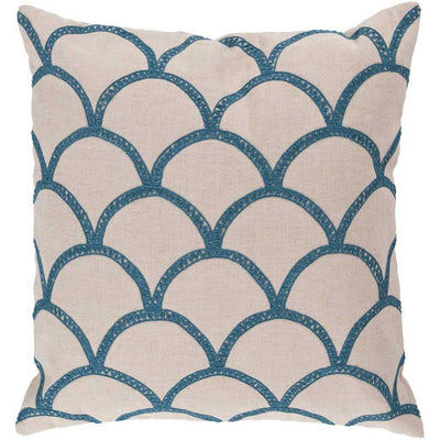 Overlapping Oval Ivory/Teal Pillow
