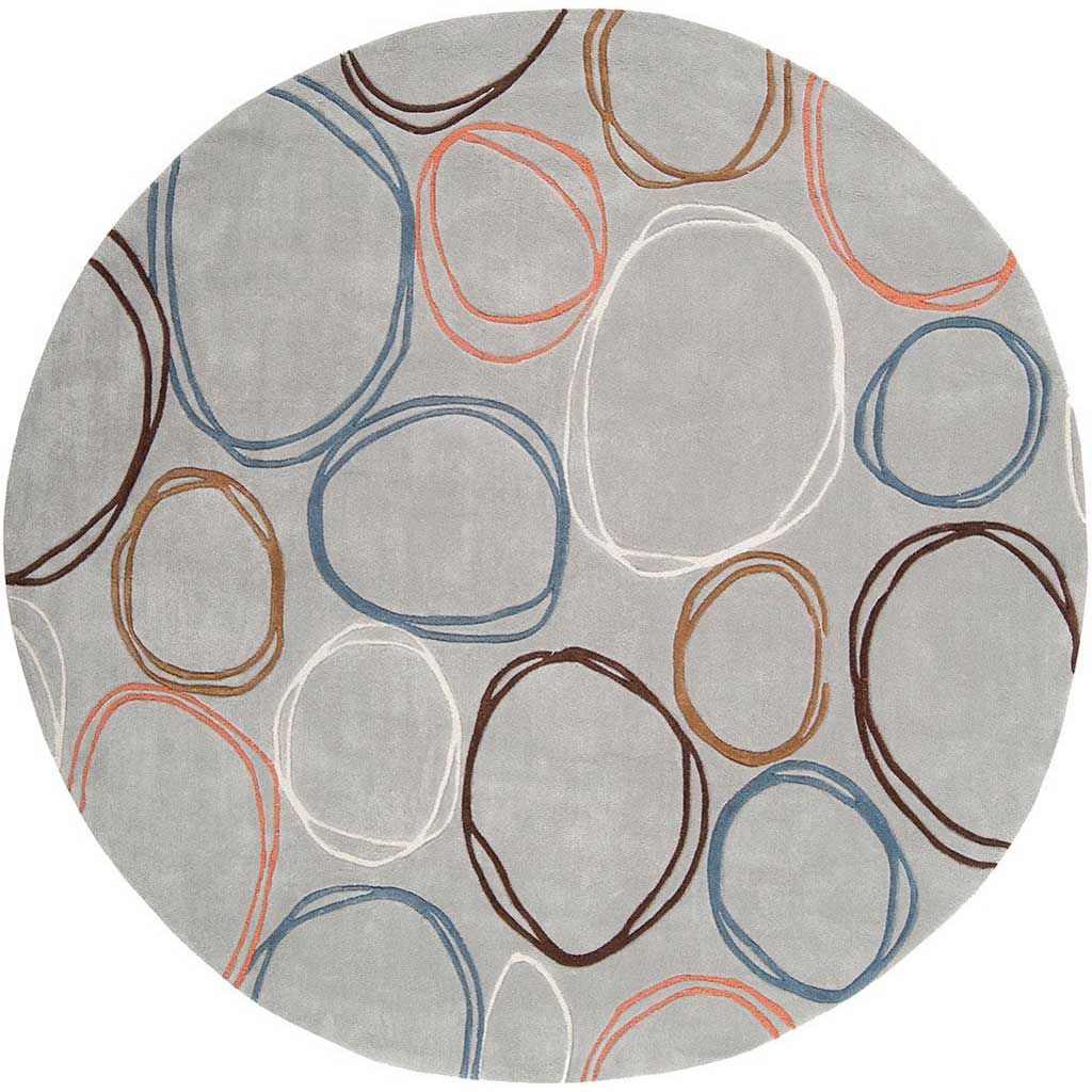 Cosmopolitan Light Gray/Ivory Round Rug