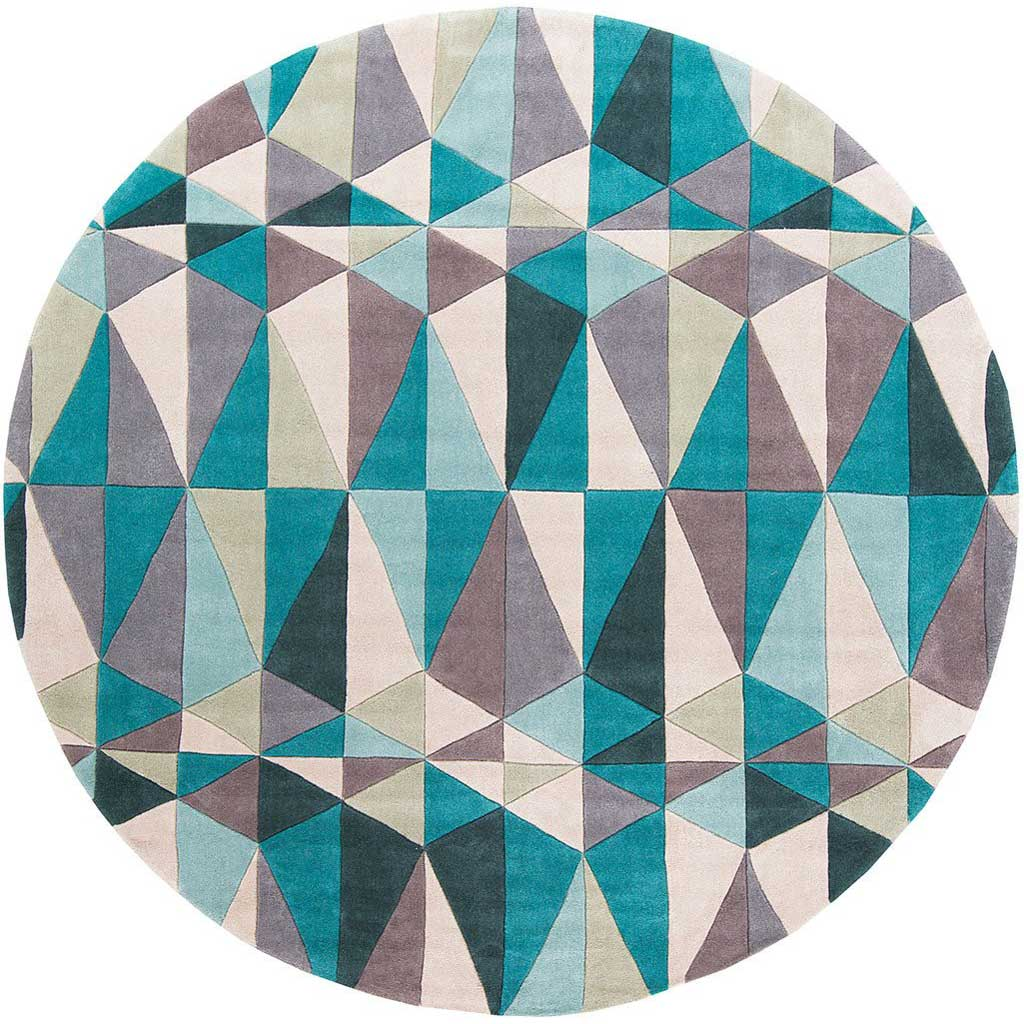 Cosmopolitan Teal/Taupe Round Rug