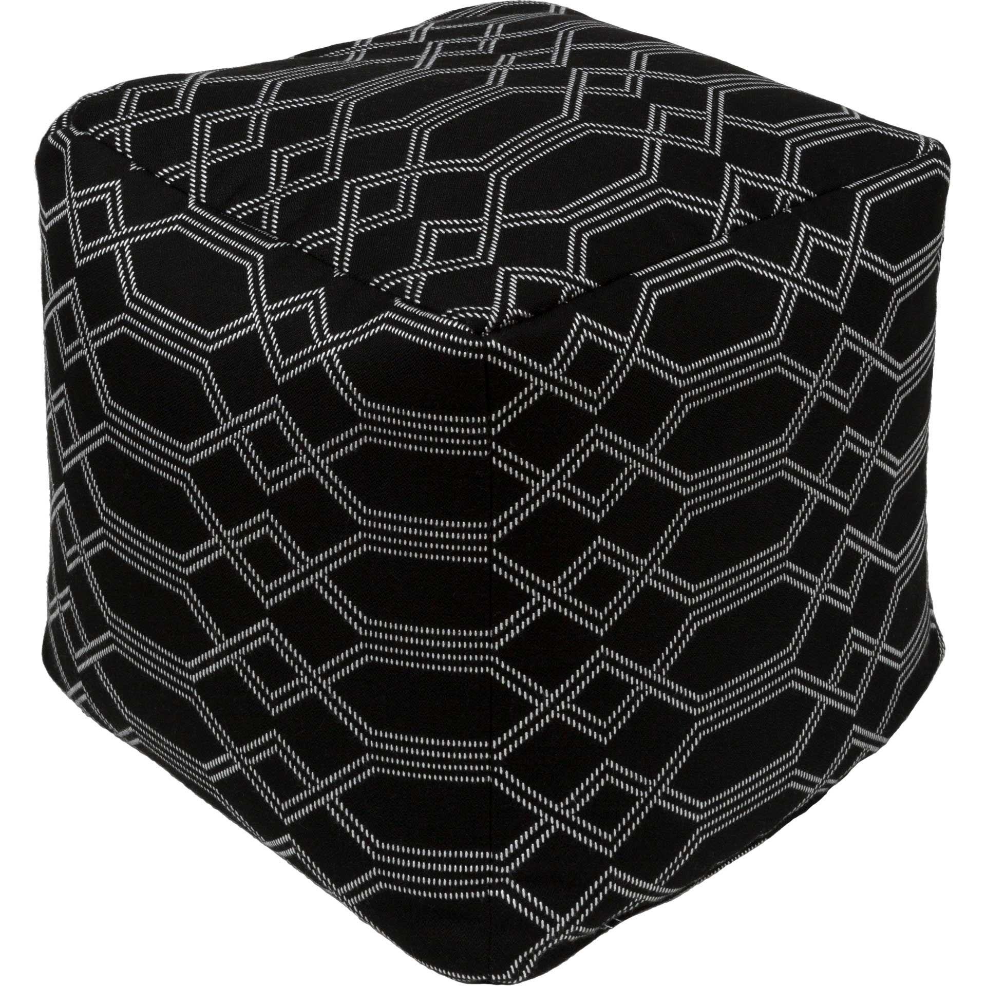Crystal Pouf Black/Ivory