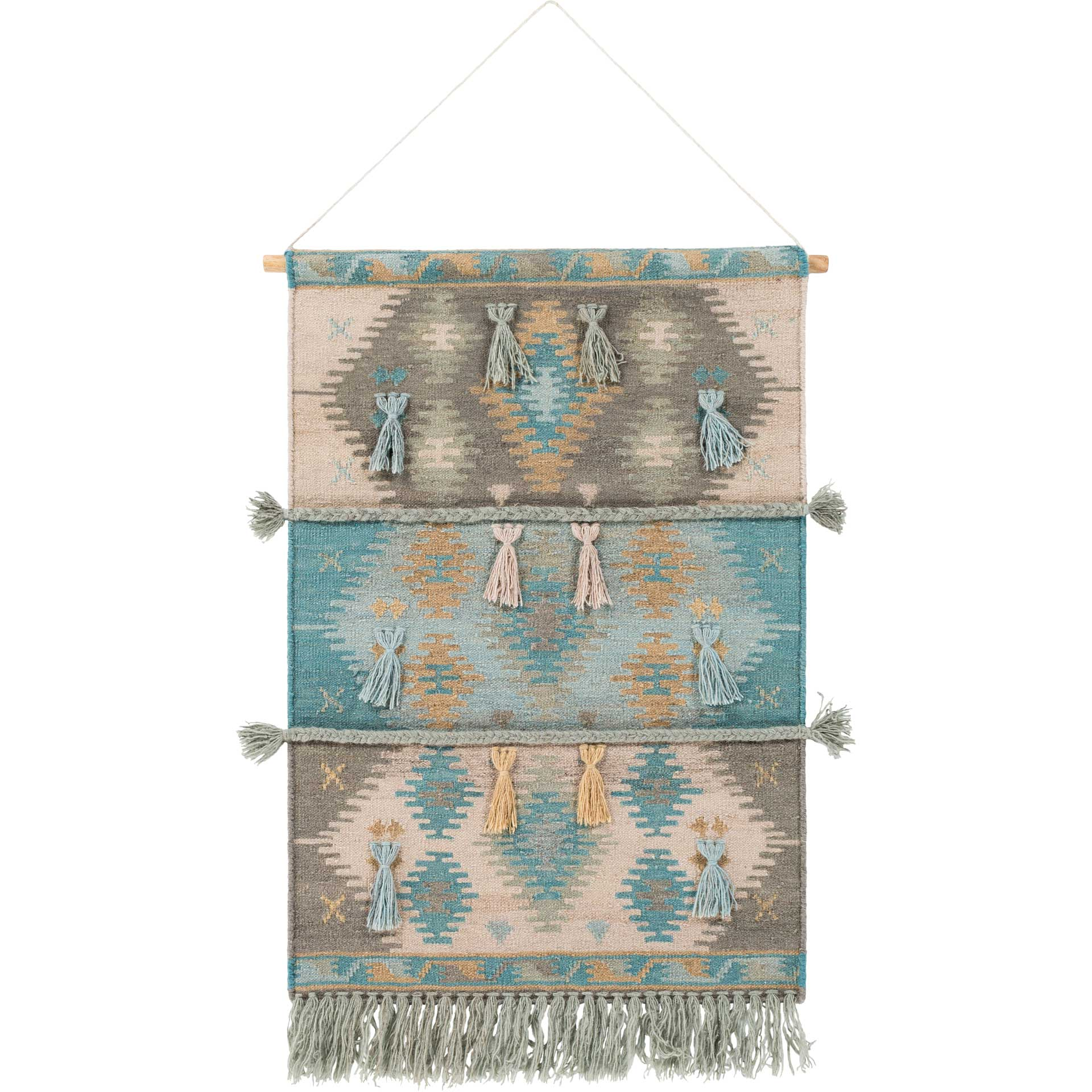 Abel Wall Hanging Medium Gray/Sky Blue/Beige