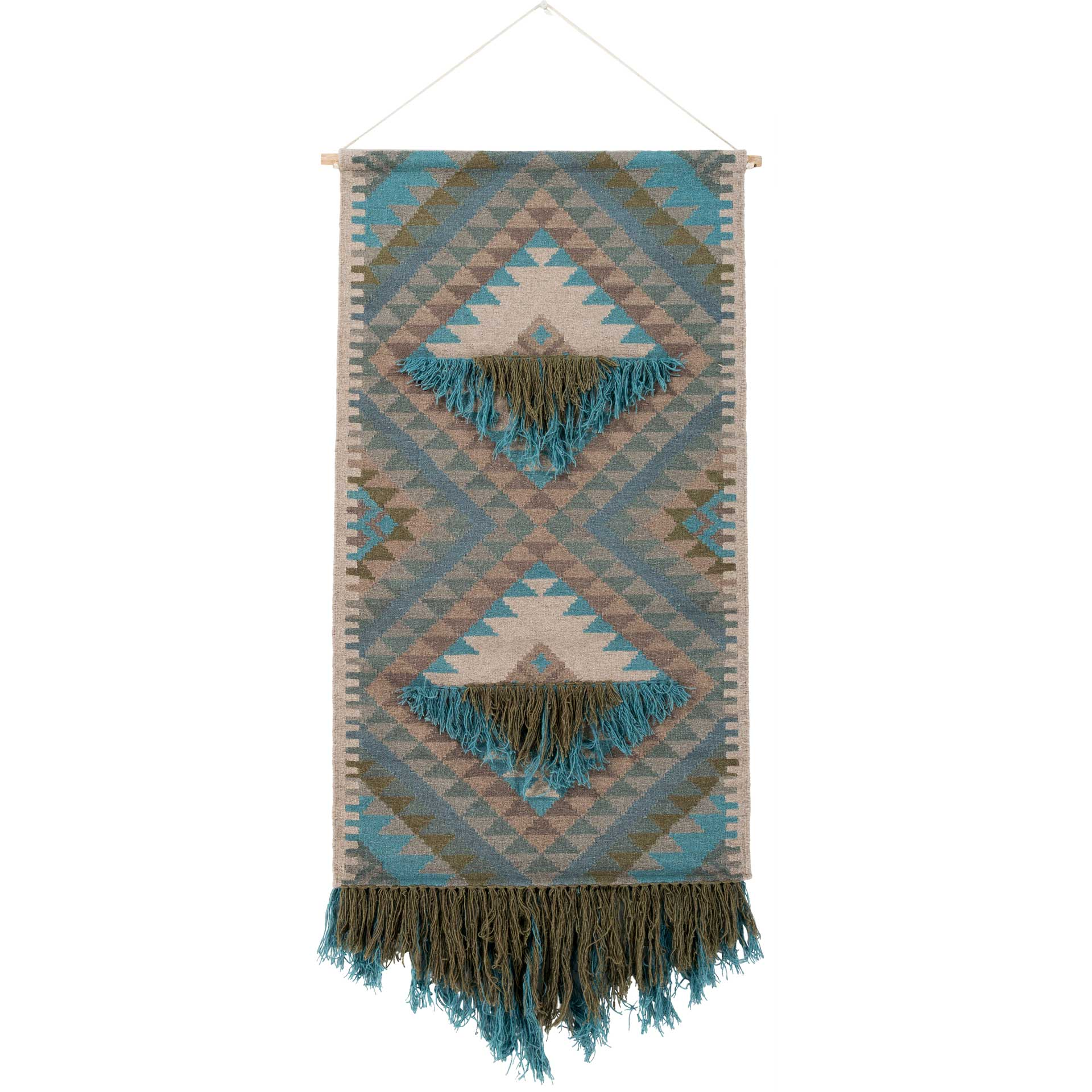 Abel Wall Hanging Dark Green/Sky Blue/Beige