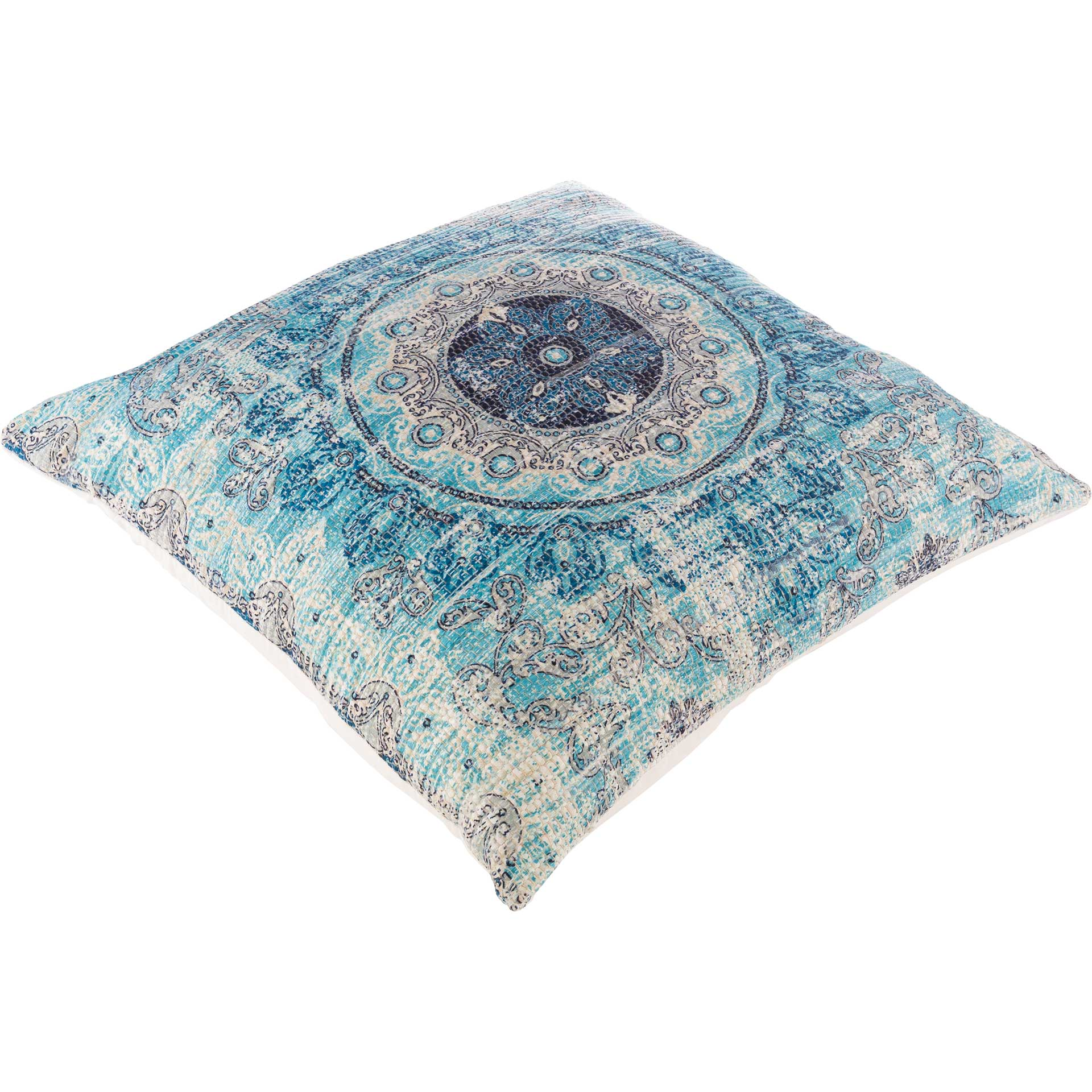 Derek Pillow Aqua/Beige/Bright Blue