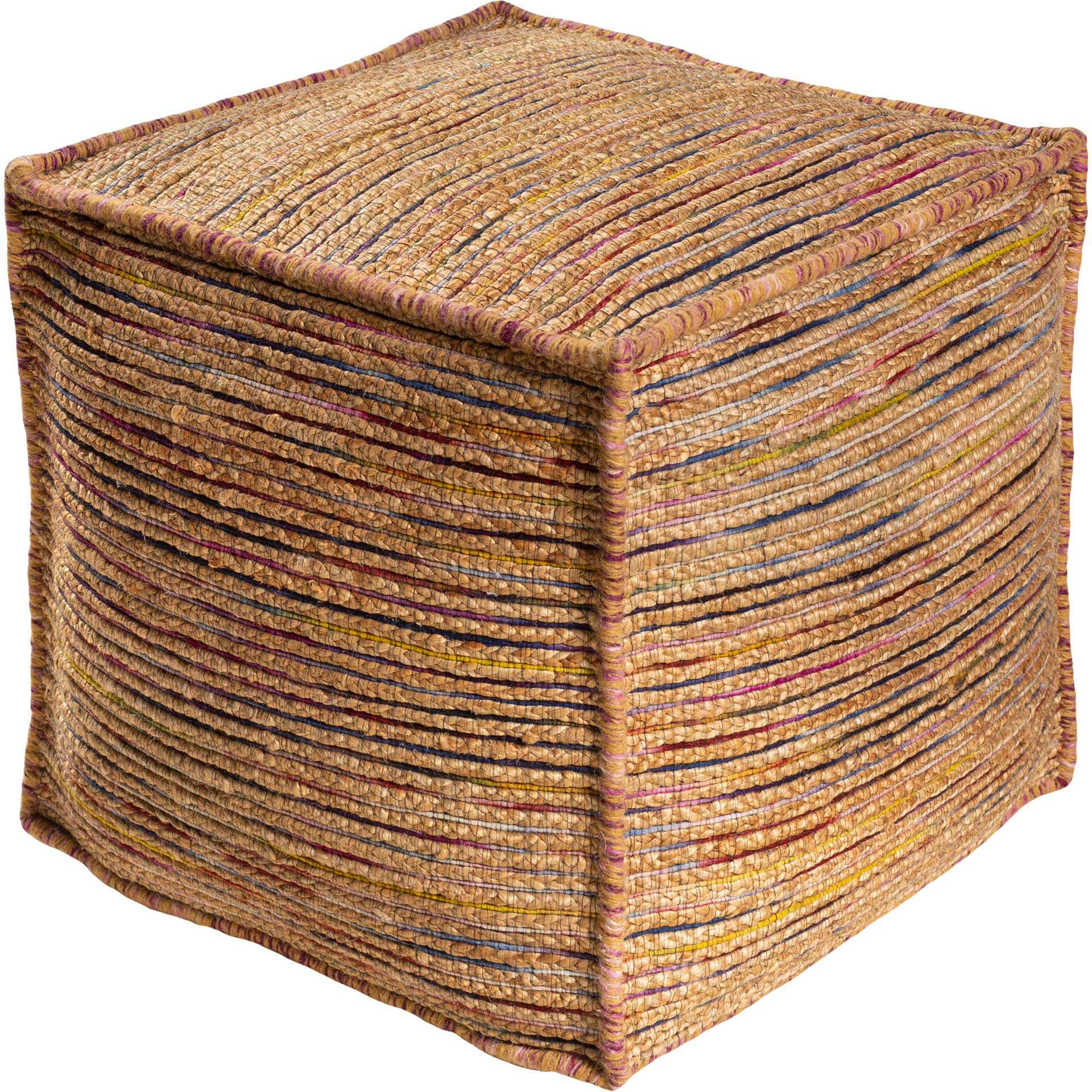 Estella Pouf Mustard/Wheat/Fuschia