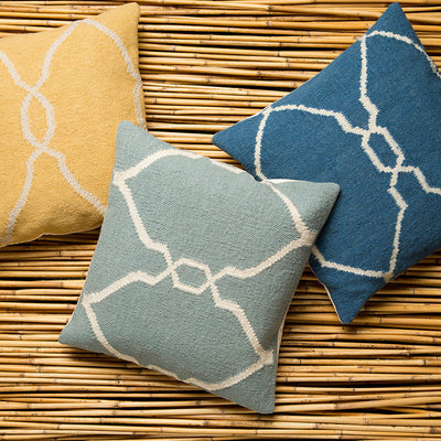 Juxtaposed Geometric Cobalt/Beige Pillow