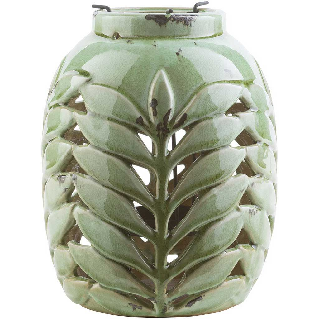 Fern Ceramic Lantern Moss Medium