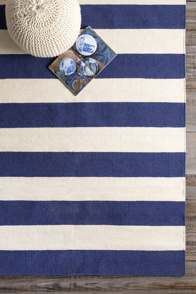 Frontier Striped Ivory/Cobalt Area Rug