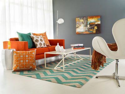 Frontier Chevron Teal/Ivory Area Rug