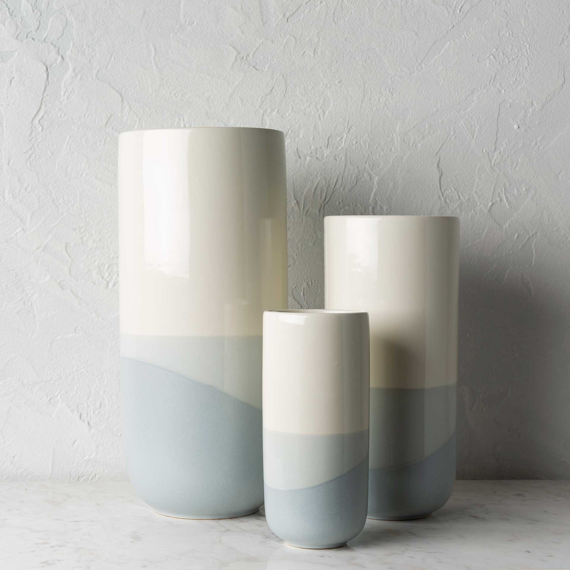 Genevieve Vase Cream/Light Gray