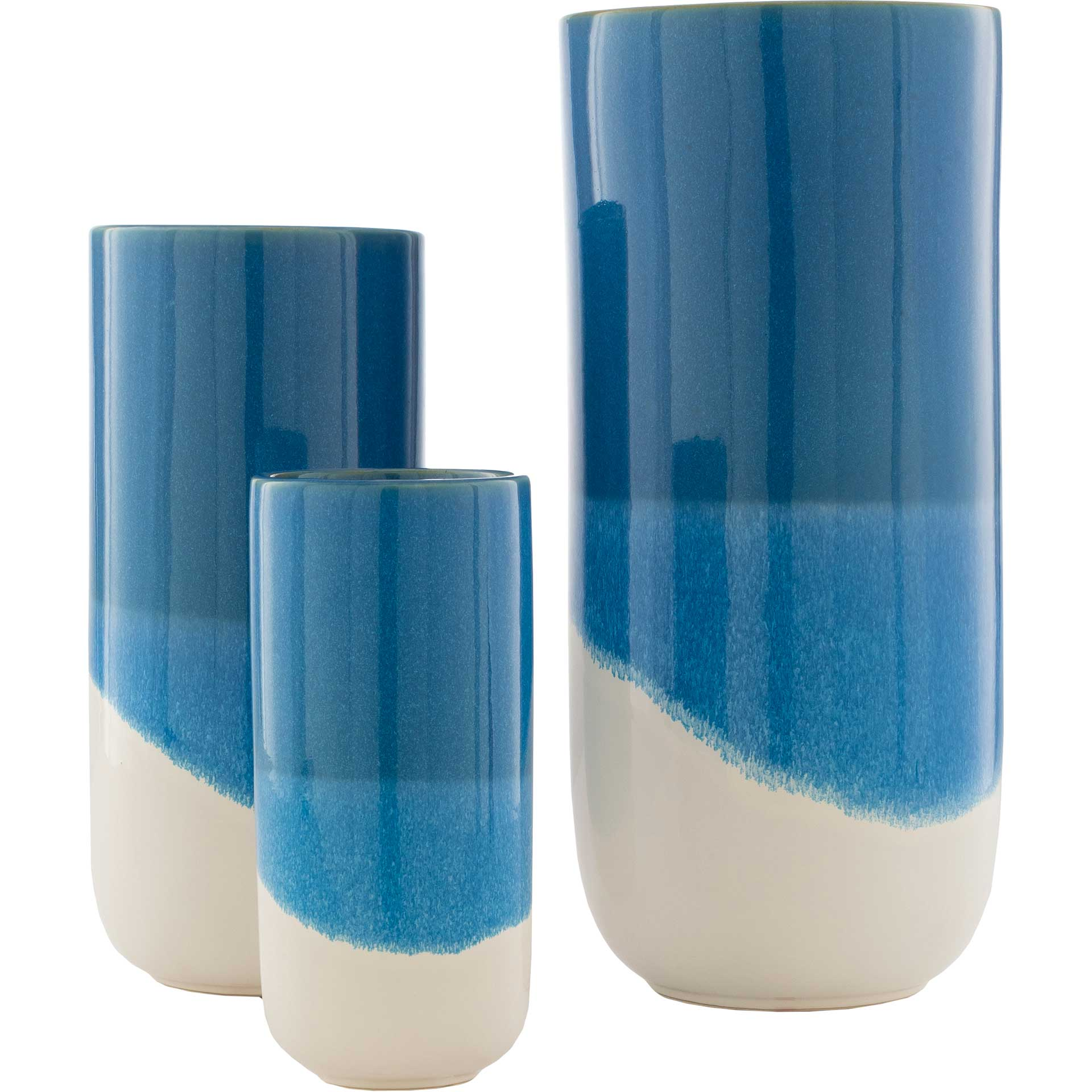 Genevieve Vase Cream/Blue