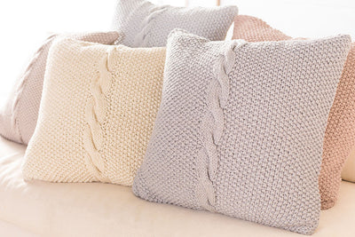 Classic Cable Knit Ivory Pillow