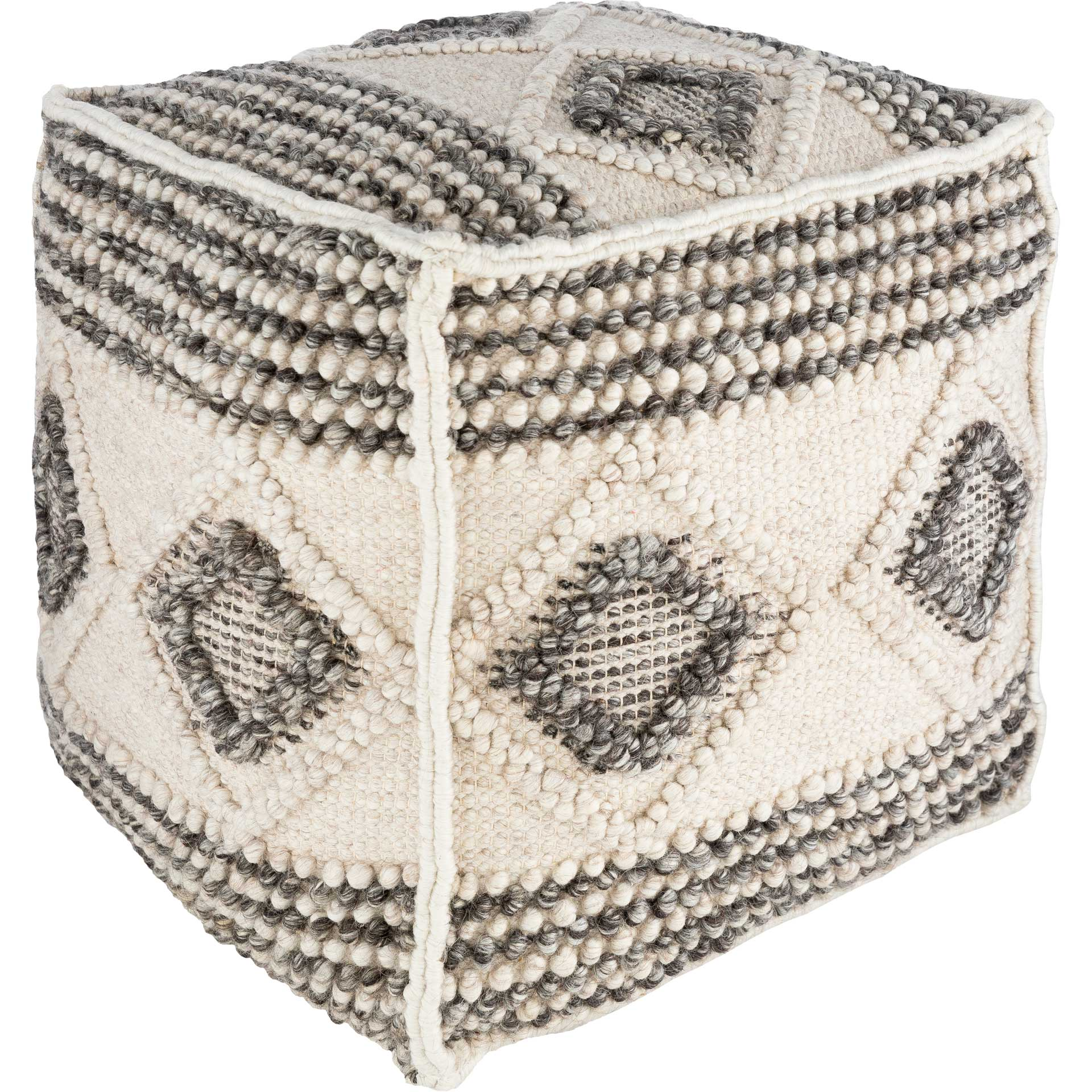Hugo Pouf Charcoal/White