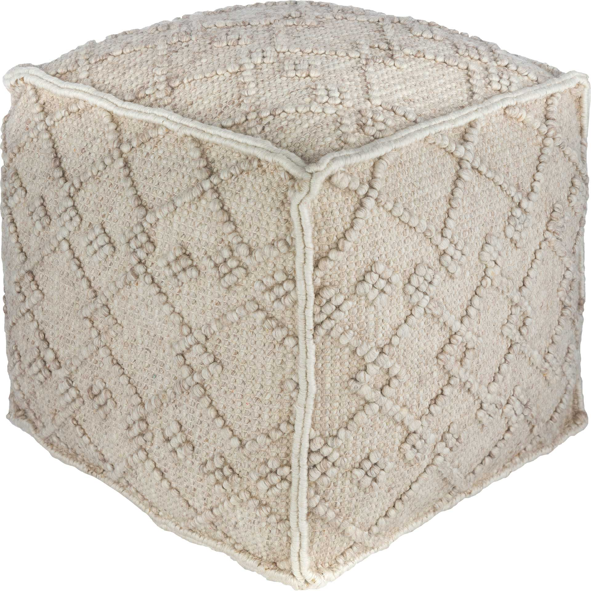 Hugo Pouf White/Charcoal