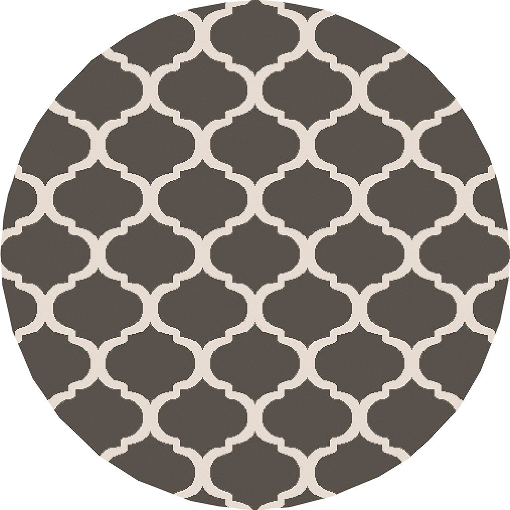 Horizon Lattice Ivory/Charcoal Round Rug