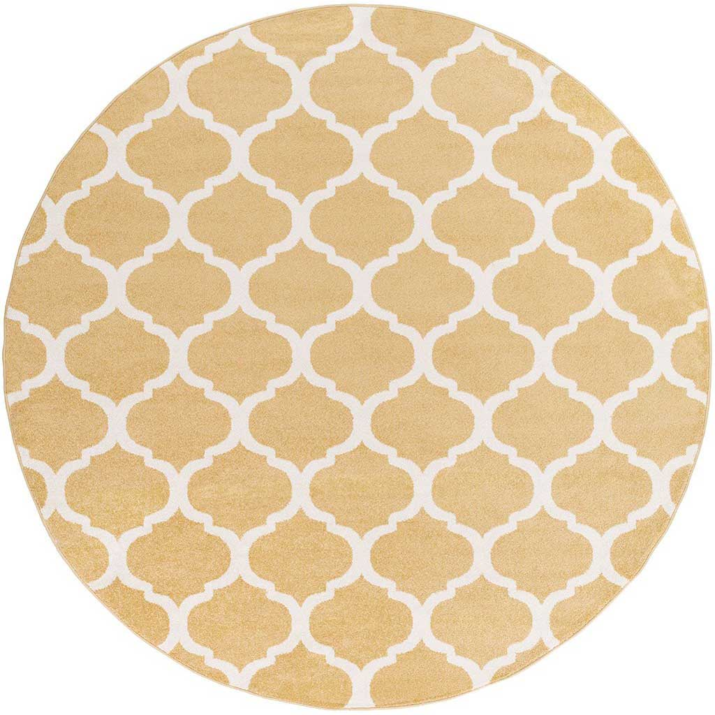 Horizon Lattice Gold/Ivory Round Rug