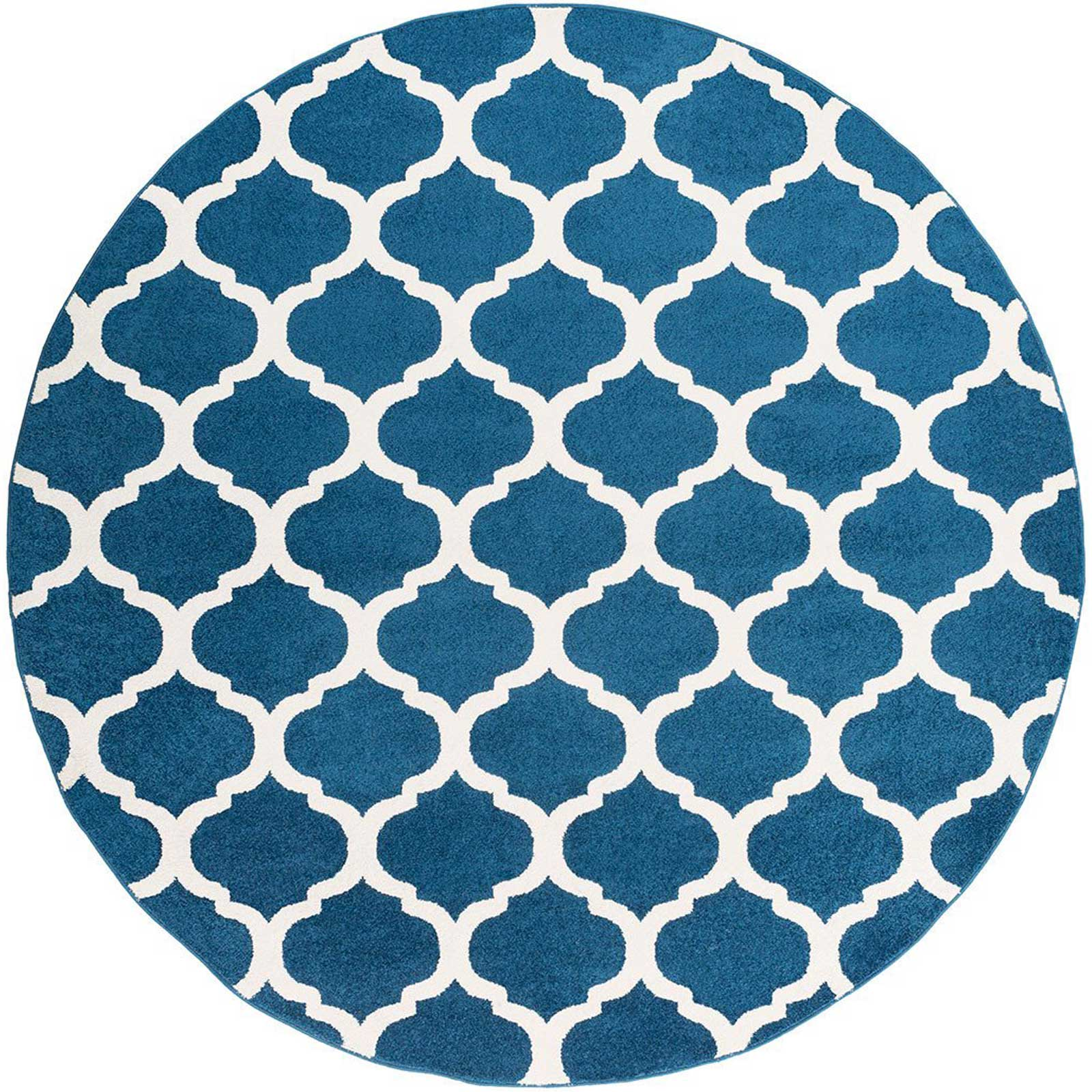 Horizon Lattice Cobalt/Ivory Round Rug