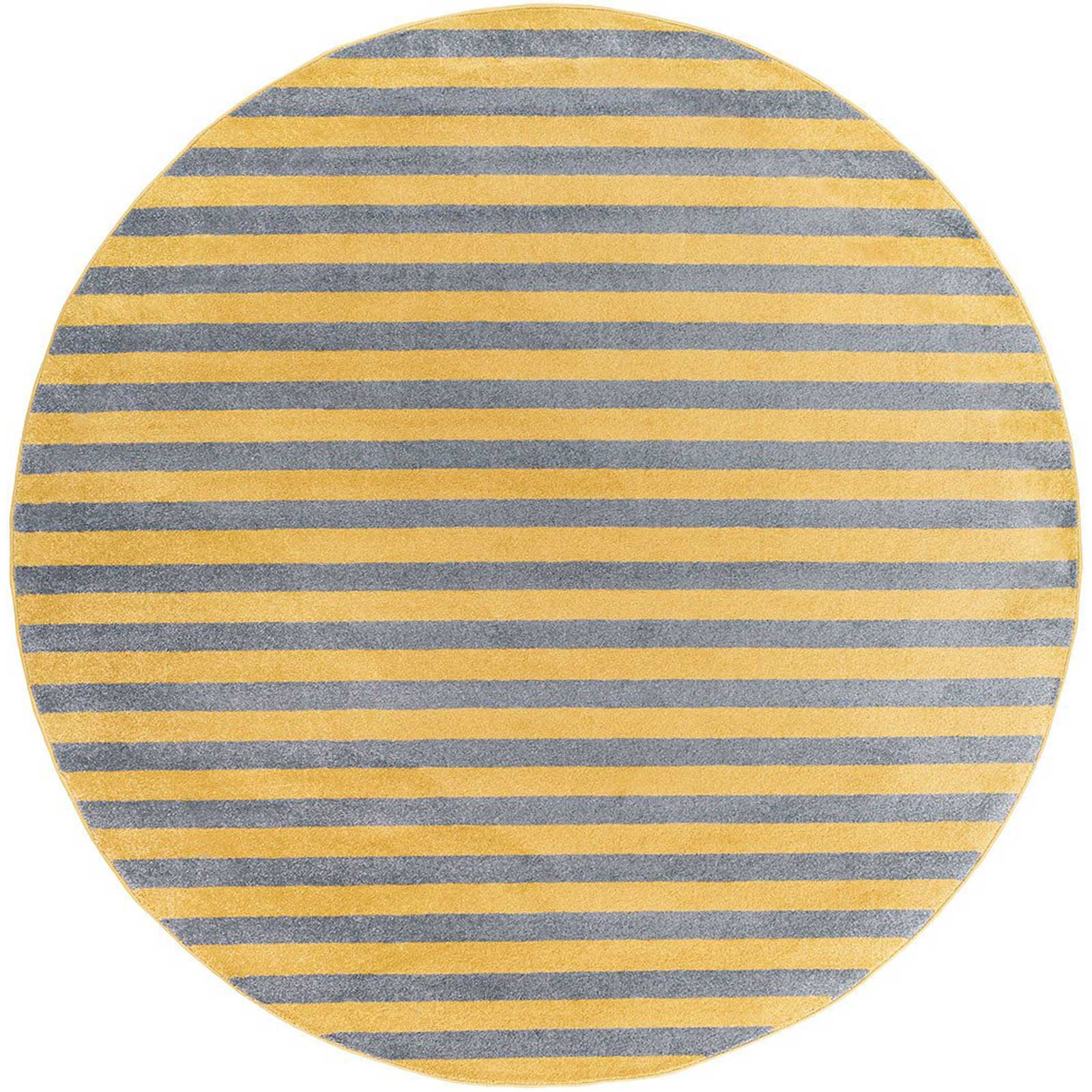 Horizon Lines Gold/Gray Round Rug