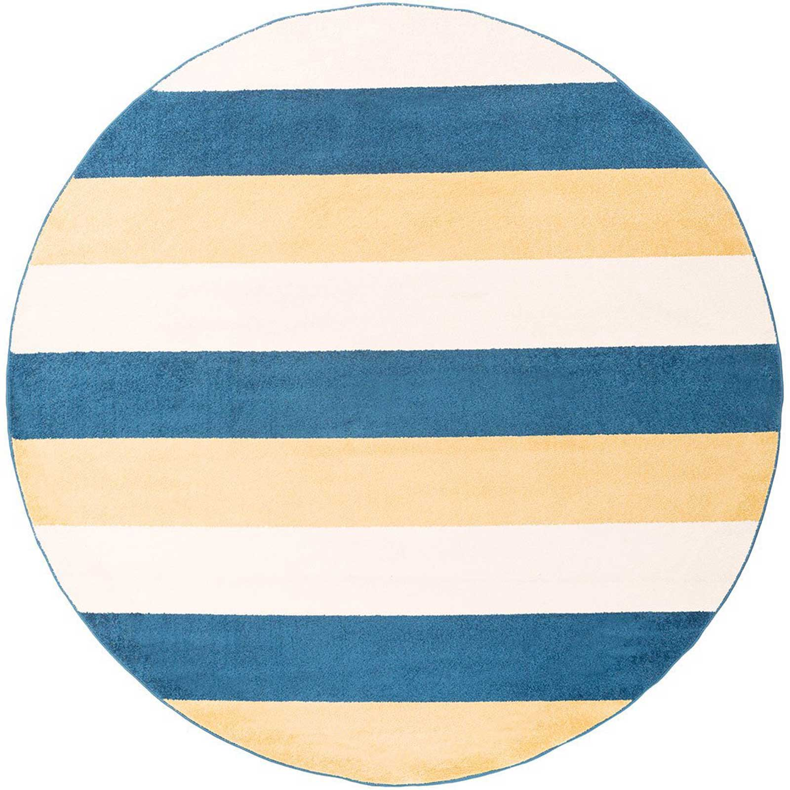 Horizon Striped Cobalt/Gold Round Rug