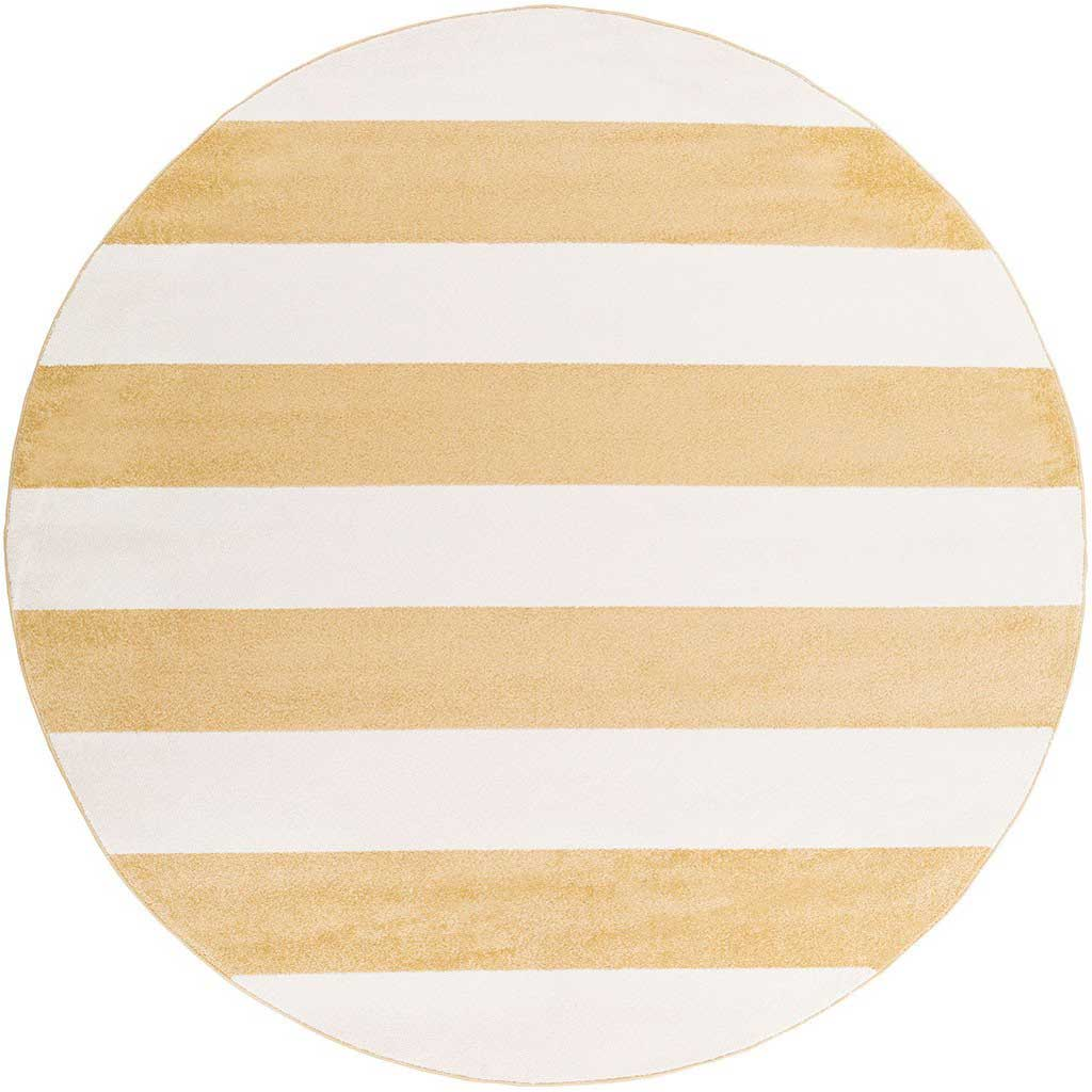 Horizon Striped Ivory/Gold Round Rug