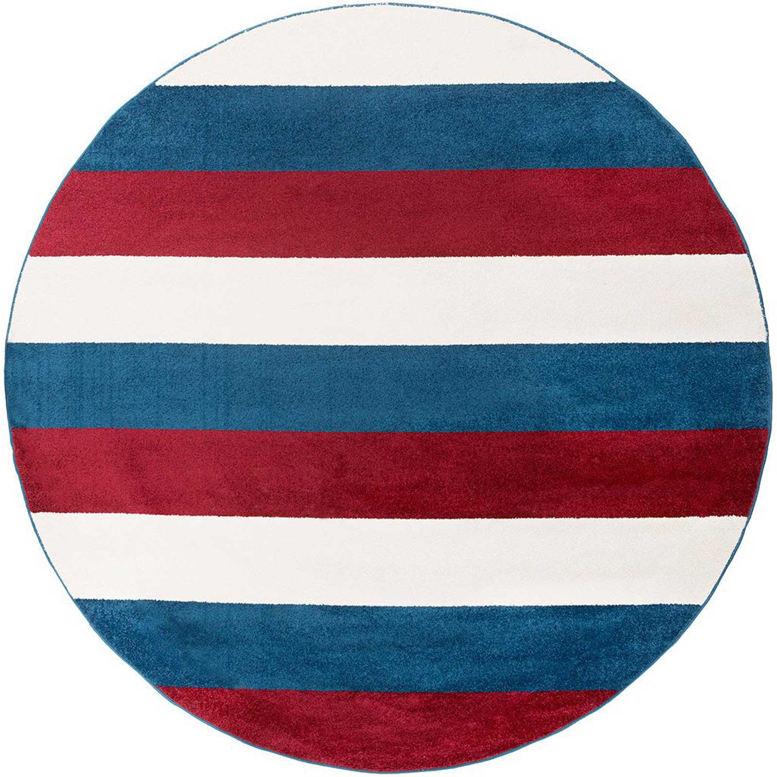 Horizon Striped Burgundy/Cobalt Round Rug