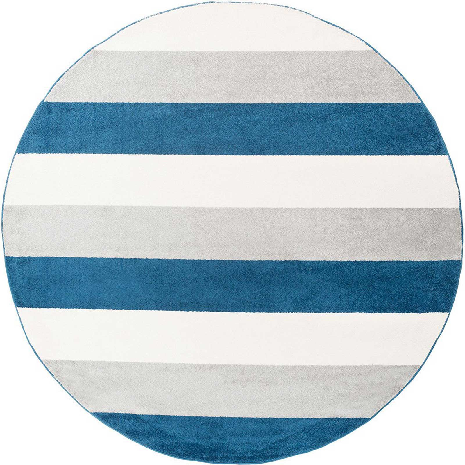Horizon Striped Cobalt/Gray Round Rug