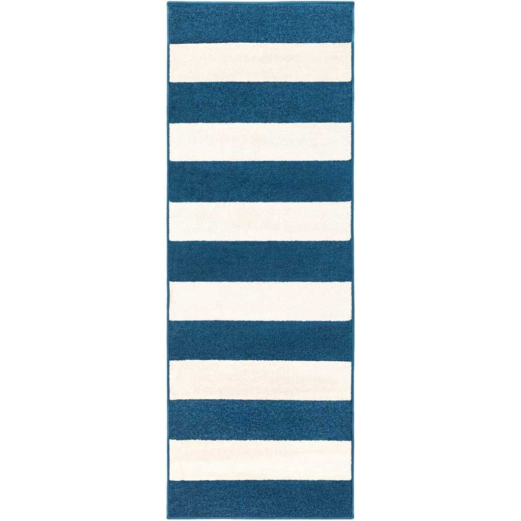 Horizon Striped Cobalt/Ivory Runner Rug