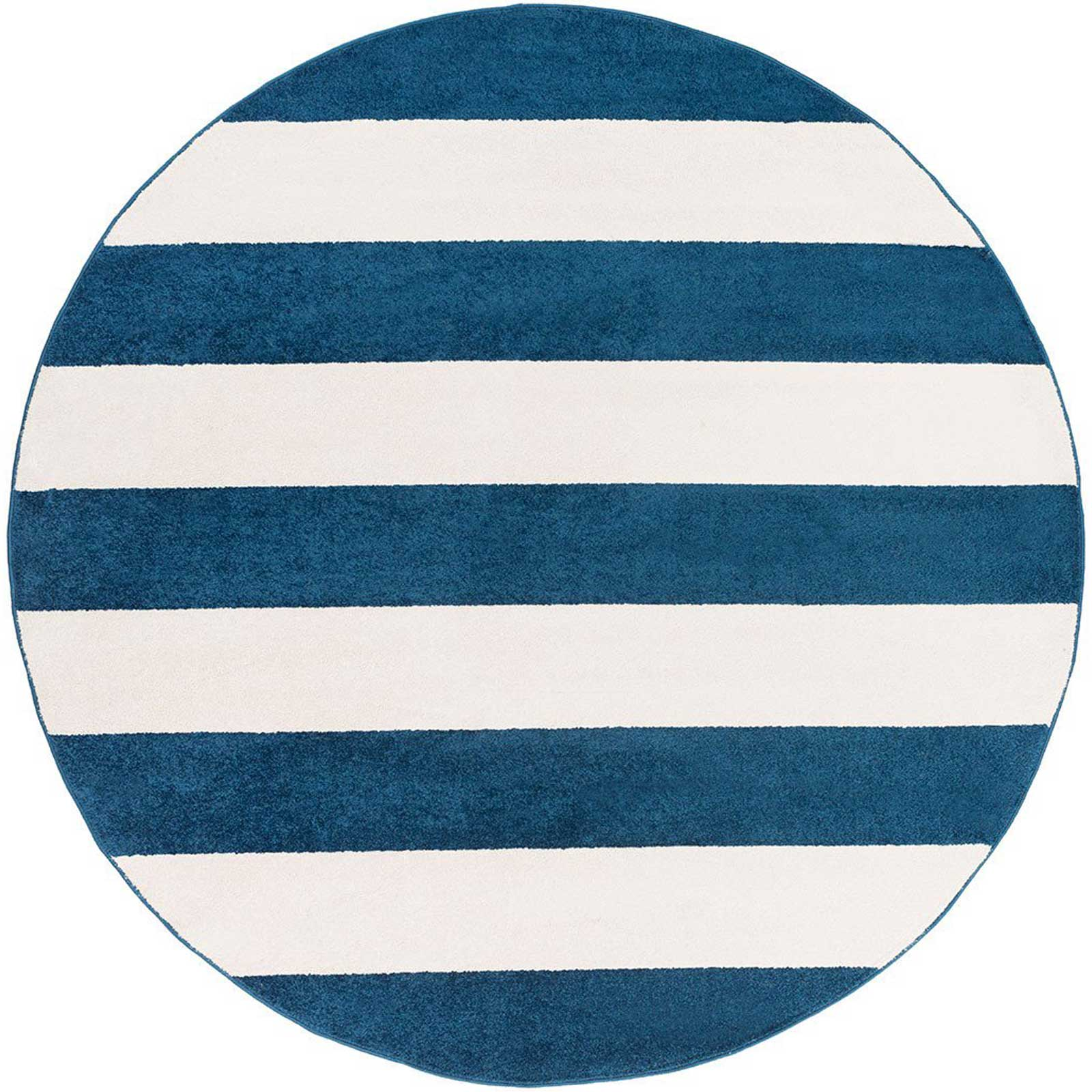 Horizon Striped Cobalt/Ivory Round Rug