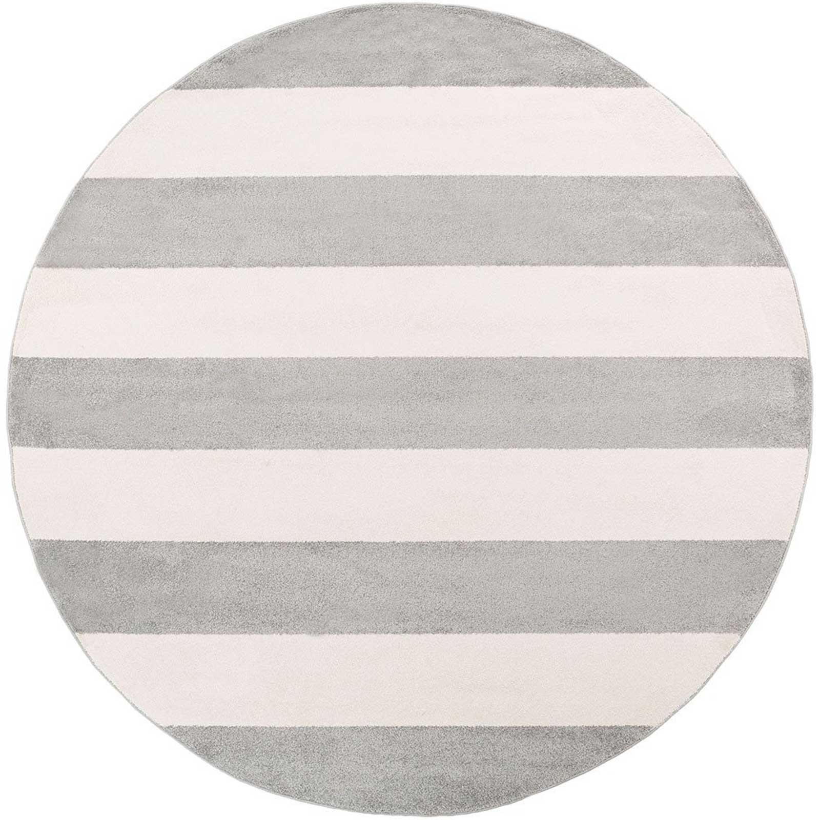 Horizon Striped Gray/Ivory Round Rug