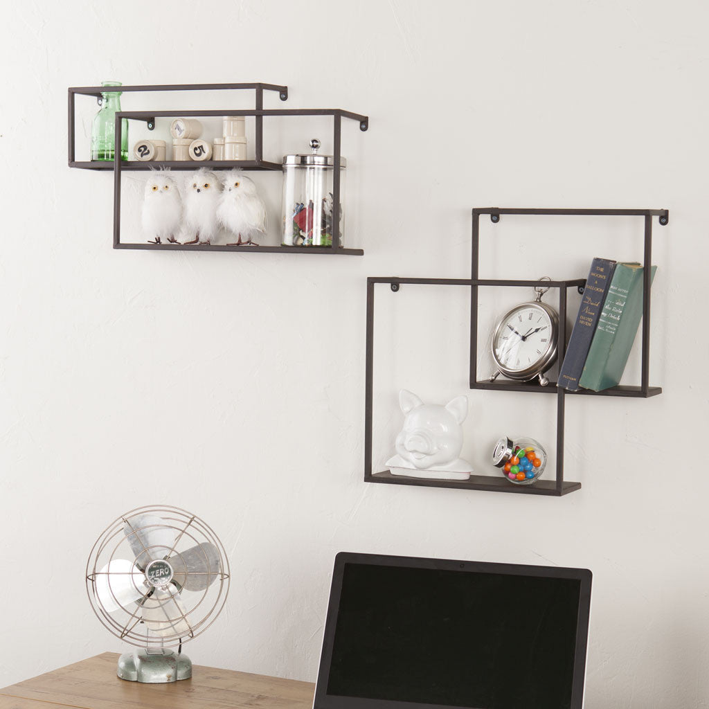 zyther metal wall shelves (set of )  froy - zyther metal wall shelves (set of )