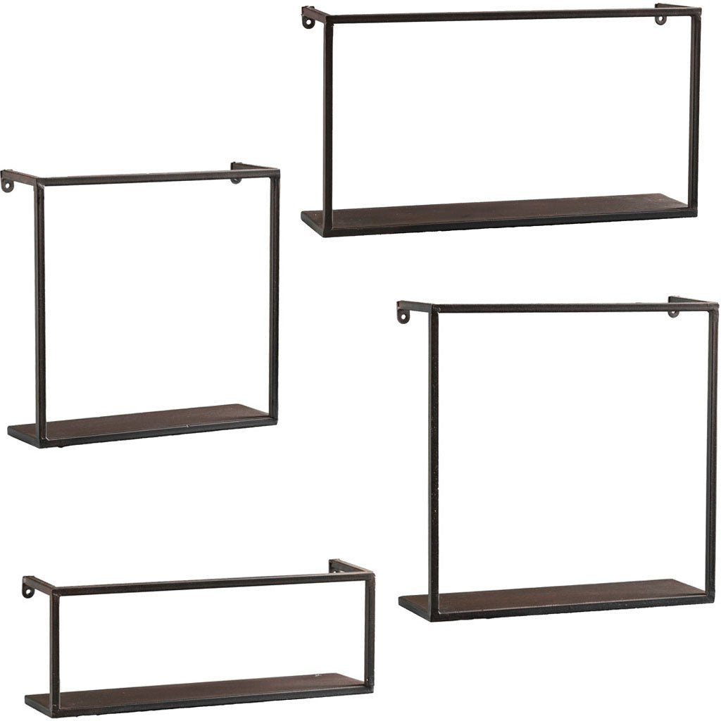 zyther metal wall shelves set of 4 froy rh froy com black metal wall shelf for cabinet end black metal wall shelves battery