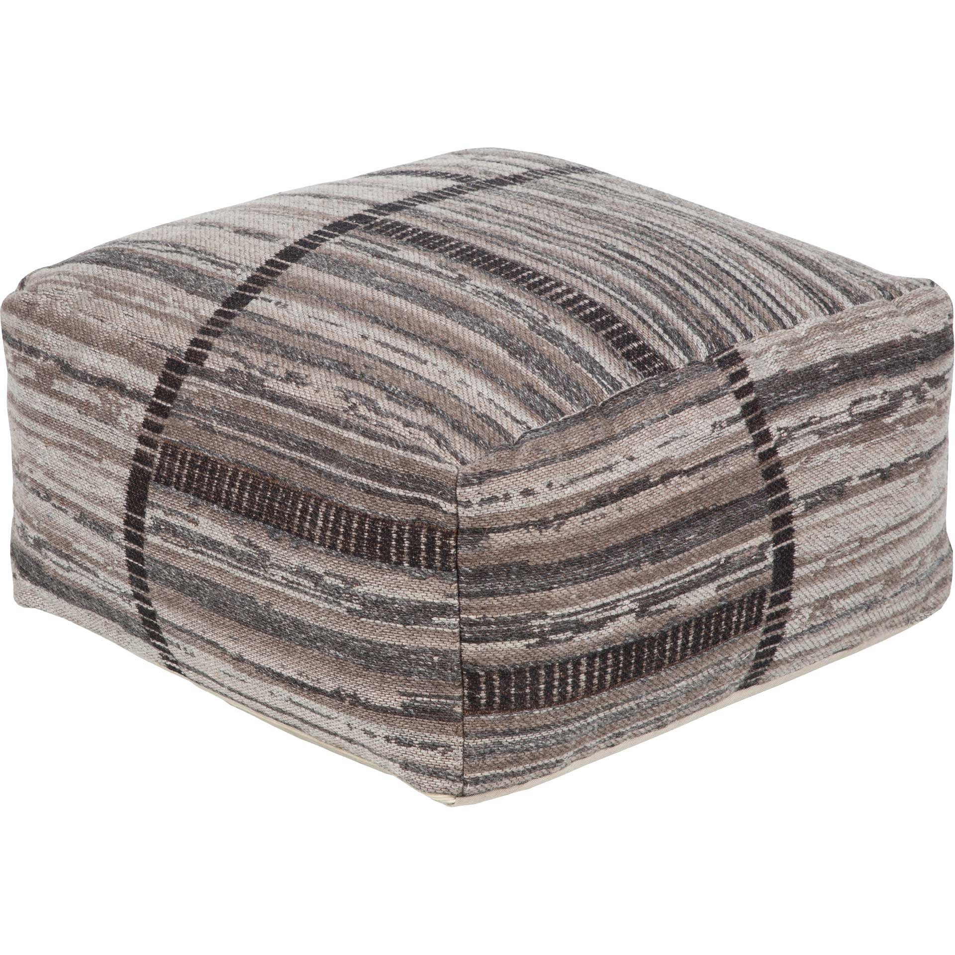 Jackie Pouf Charcoal/Light Gray/Camel