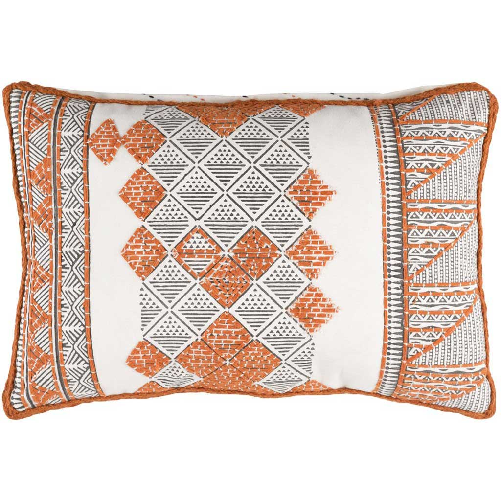 Kerio Orange/Brown/White Lumbar Pillow