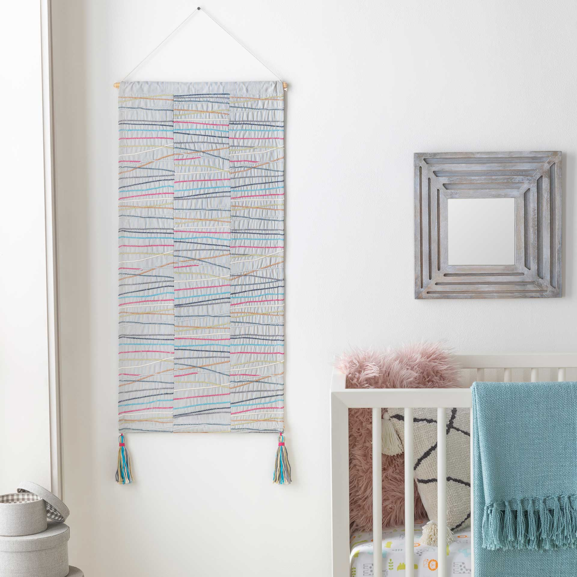 Kade Wall Hanging Ice Blue/Beige/Bright Pink