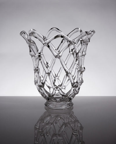 Glass Web Sculpture with Open Top