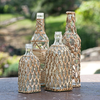 Manatee Rattan Glass Bottles (Set of 4)