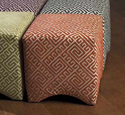 Montgomery Graphic Ottoman Orange