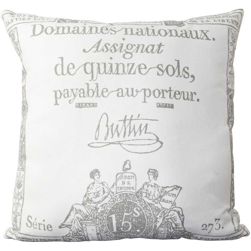 Facile French Ivory/Charcoal Pillow