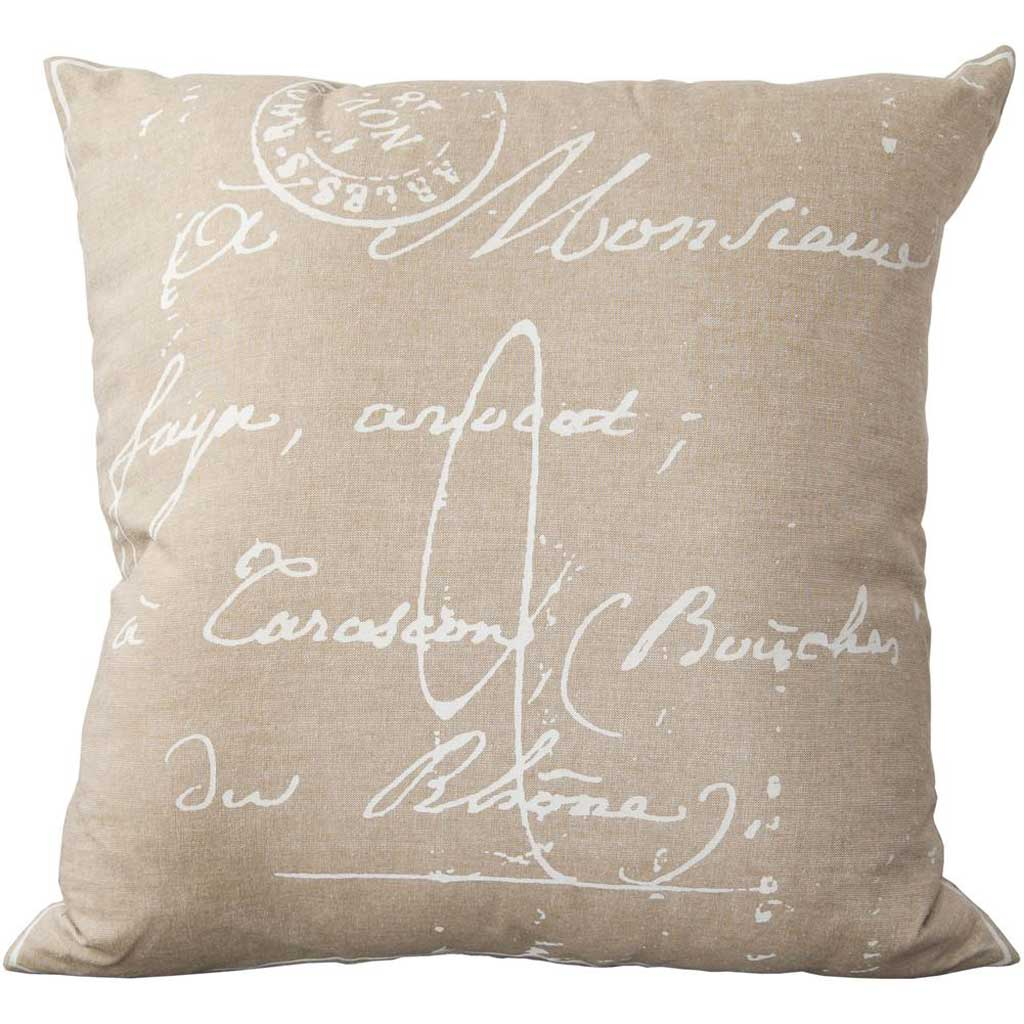 Classical French Script Gray/Ivory Pillow