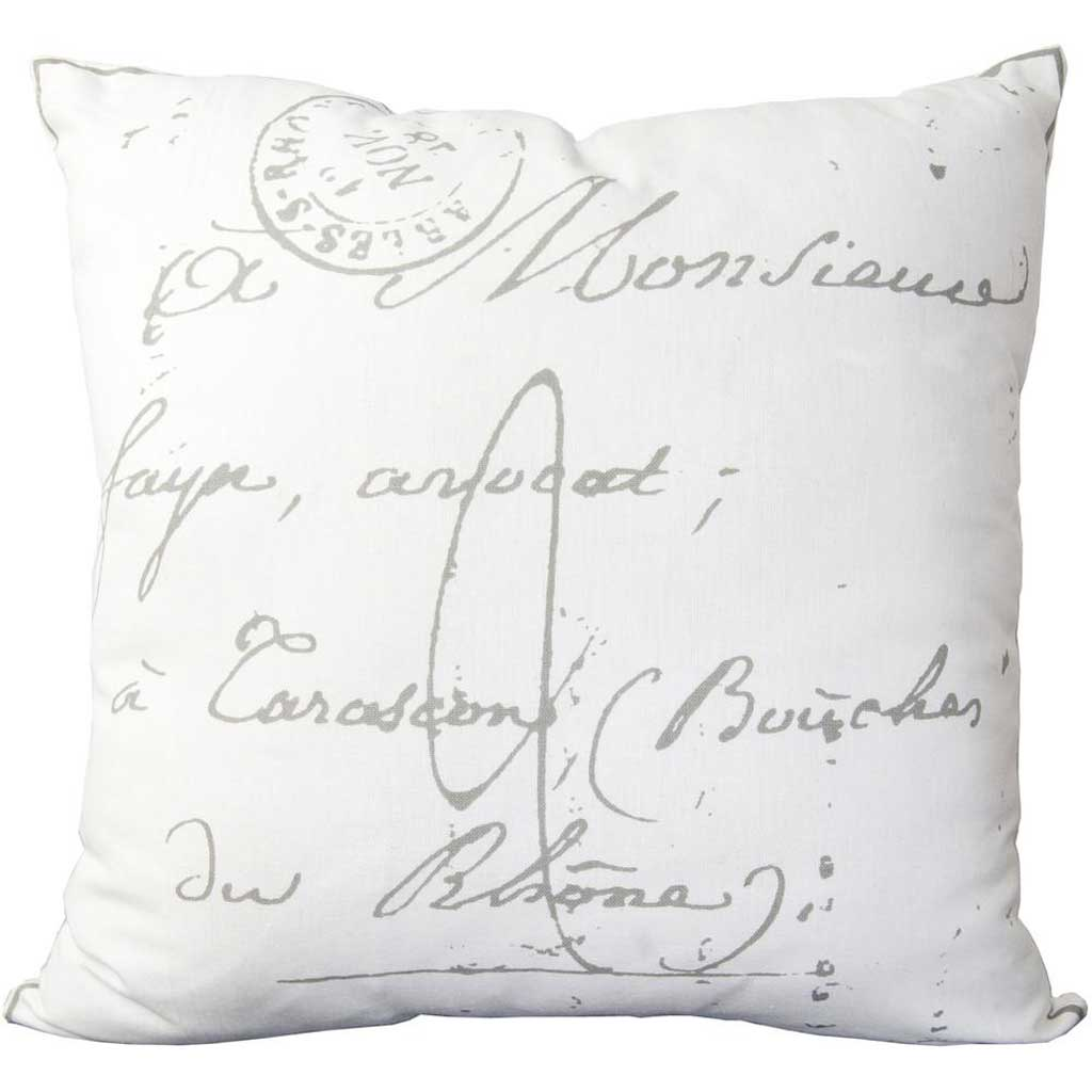 Classical French Script Ivory/Charcoal Pillow