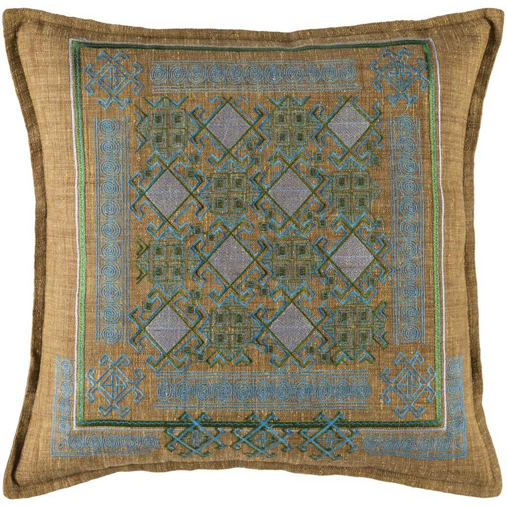 Litavka Camel/Sky Blue/Dark Green Pillow