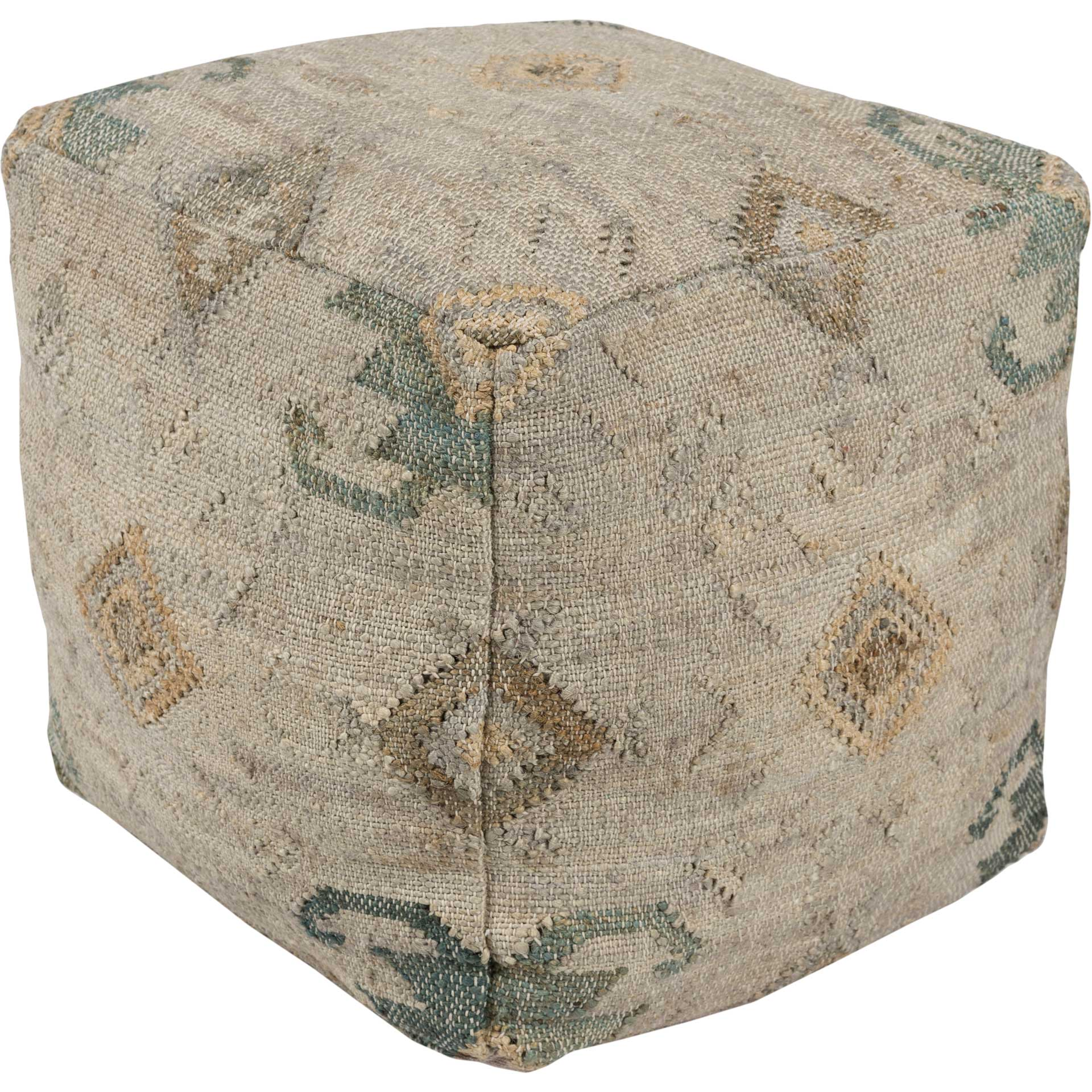 Lennox Pouf Teal/Navy/Dark Brown