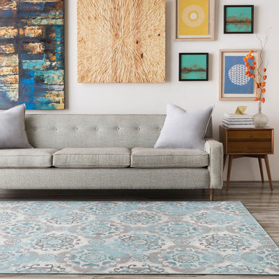 Mavrick Teal/Gray/Black Area Rug