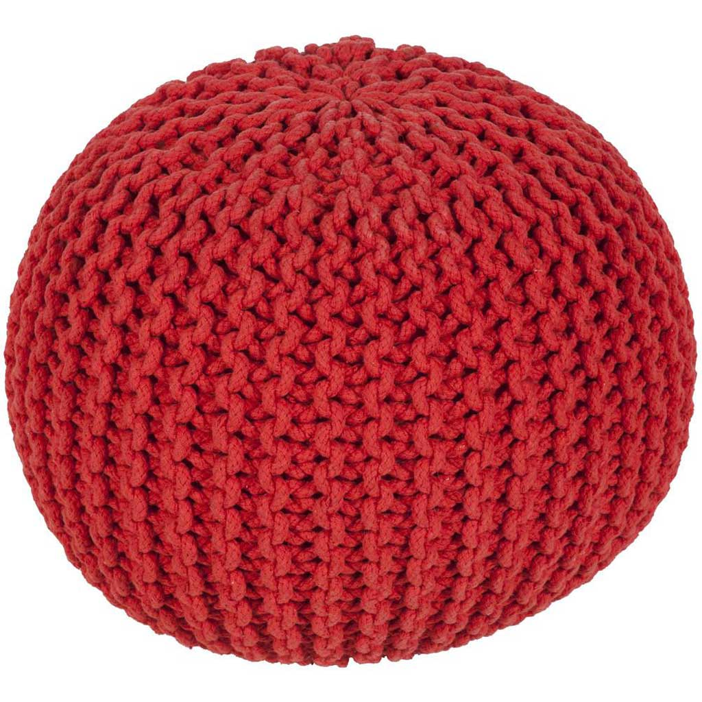 Malmo Solid Red Sphere Pouf