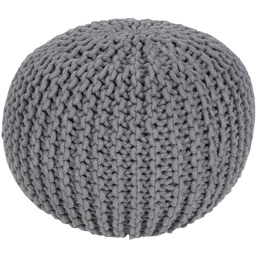 Malmo Solid Gray Sphere Pouf